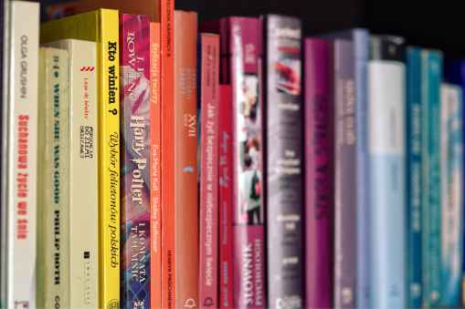 colorful books on shelf